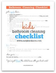 Bathroom Cleaning Schedule Magnificent Kids Printable Bathroom Cleaning Checklist