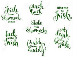 Diverses Phrases Courtes Pour St Patricks Day Vector Avec Des Citations De Lettrage Dessinés à La Main Pour Les Bannières Festives Des
