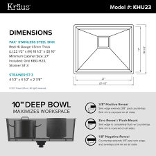 kraus pax 8482 zero radius 22 inch handmade undermount single bowl 16 gauge