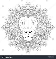 Small Picture Coloring Page Mandala Lion Head Animal Stock Vector 419982178