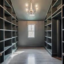 gray built in closet shelving