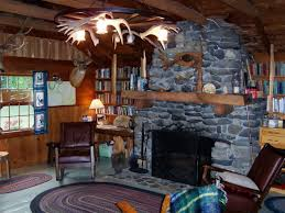 decorations log cabin interior with hunting room also natural stone fireplace and antler chandelier decor