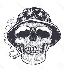 photostock vector rastaman skull vector art skull in hat with cans leafs and in sugles holds smoking joint in h