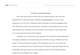 great gatsby and prohibition essays prohibition and the great gatsby a level english marked by