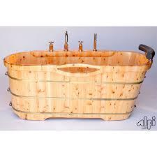wood freestanding soaking bathtub with chrome tub filler