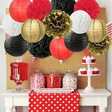 Flower Paper Lanterns Graduation Party Decorations Black White Red Gold Tissue