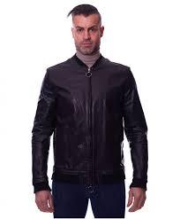 blake black colour washed lamb leather biker jacket banana collar