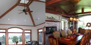 left vaulted ceiling with box beams right barrel vaulted ceiling