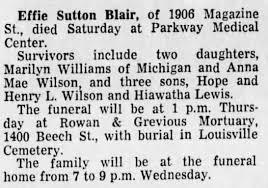 Obituary for Effie Sutton Blair - Newspapers.com