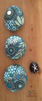 Painted Rocks, Mandala Inspired Design, Natural Home Decor, Rock Art, Free  US Shipping, Unique Gift, blue luminescence collection Trio #31