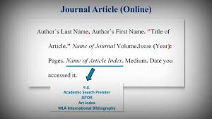 Work Citation Mla Format Mla Style Works Cited List Citing Journal Articles Youtube