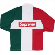 supreme split rugby shirt white red