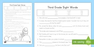 Phonics worksheets and online activities. Third Grade Sight Words Cloze Reading Activity