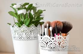 ikea plant pot make up brushes container off white