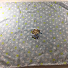 just one baby blanket blue monkey guitar stars lovey security crib carters