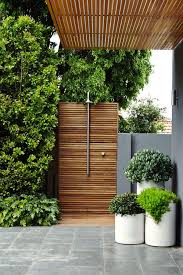 C Wood Paneled Outdoor Shower
