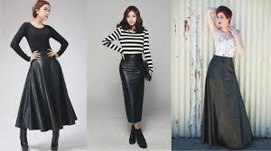 elegant black leather long skirt this year