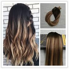 A Balayage Ombre Brown With Blonde Clip In Human Hair Extensions Full Head