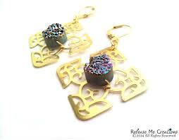 rainbow titanium druzy celtic cross gold filigree chandelier earrings image