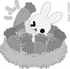 可愛いウサギとにんじん畑のイラスト素材 25192949 Pixta