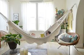 Contemporary floating indoor hammock bed designs for living room
