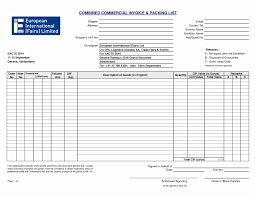 packing list sample form export invoice and packing list format in excel image international