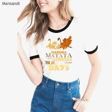 Summer 2019 vogue lion king t shirt women <b>hakuna matata letters</b> ...