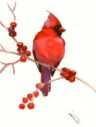 red cardinal bird art red wall art original watercolor painting 9 x 11 in