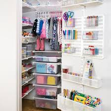 organized office closet. white elfa reachin closet organized office