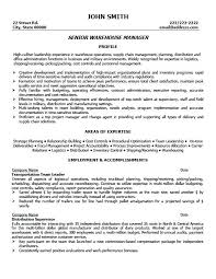Warehouse Management Resume Sample Resume Sample Manufacturing And ...