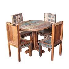 Woburn Rustic Trestle Base Round Reclaimed Wood Dining Table Set