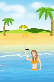 夏のビーチの女の子のイラスト画像pngとベクトルダウンロードpsd