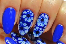 Nail Art. Neon Dark Blue Design. Flowers. - YouTube