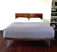 platform bed and headboard on hairpin legs king size solid