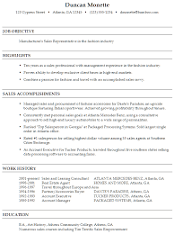 Sample Resume Manufacturer's Sales Representative Fashion