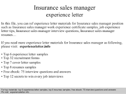 Insurance Sales Manager Experience Letter