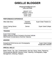 Ideas of Sample Dance Resume For Audition For Your Sample