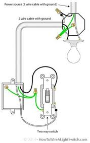 2 way switch wiring diagram electrical wiring pinterest How To Wire A Two Way Switch Diagram 2 way switch with power source via light fixture how to wire a light switch two way switch wire diagram
