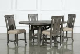 jaxon grey 5 piece round extension dining set w wood chairs living black round dining table