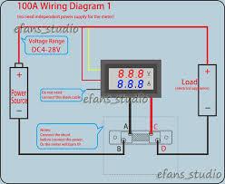 dual led digital voltmeter ammeter amp volt meter current shunt dc digital volt amp meter wiring diagram dual led digital voltmeter ammeter amp volt meter current shunt dc 100v 100a ebay