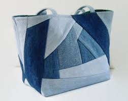 Denim Blue Jean Tote Bag, Upcycled Denim and Reclaimed Fabric ... & Denim Blue Jean Tote Bag, Upcycled Denim and Reclaimed Fabric Handbag,  Medium Size Recycled Denim Purse, Jean Patchwork Bag, Book Beach Bag Adamdwight.com