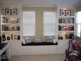 office built in. Built In White Book Shelves And Window Seat Office