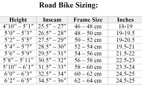Height And Inseam Chart 48cm Bike Size Chart Bicycle Bearing Size Chart Bike Speed