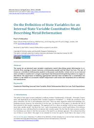 Pdf On The Definition Of State Variables For An Internal State