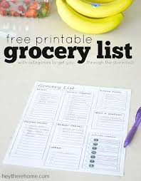 grocery list template printable free printable grocery list and meal planner organization tips
