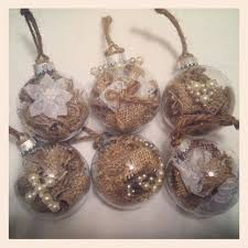 Six Rustic Christmas Ornaments Pearl Embellishments Burlap