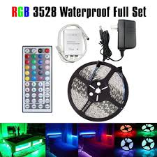 Adhesive Light Strips Us 14 9 Led Strip Lights 16 4ft 300leds 5m Waterproof Adhesive Light Strips Rgb Color Changing Smd 3528 Ribbon Kit With 44key Flexible In Led Strips