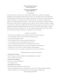 Logistics Job Description Resume Logistics Coordinator Job Description Best Resumes Bunch Ideas Of 7