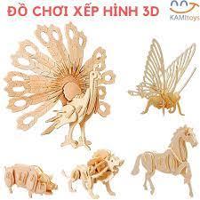 Đồ chơi gỗ xếp hình 3D loại mô hình con vật lắp ráp ghép khối giáo dục cho  trẻ em bé