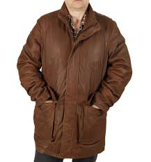 special offer gents 3 4 length rust brown buff leather coat sl11036